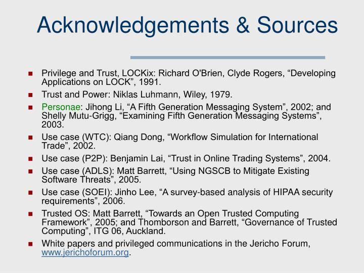 Acknowledgements & Sources