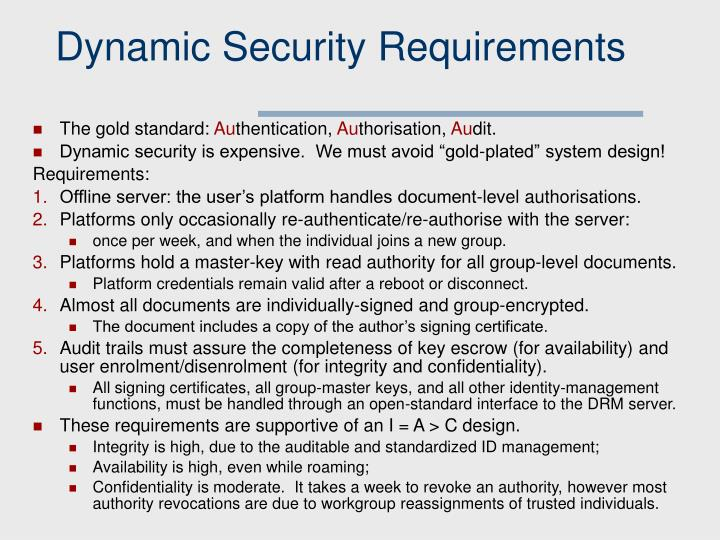 Dynamic Security Requirements