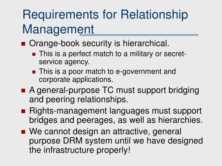 Requirements for Relationship Management