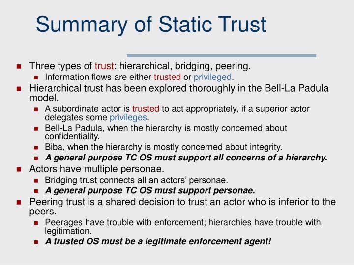 Summary of Static Trust