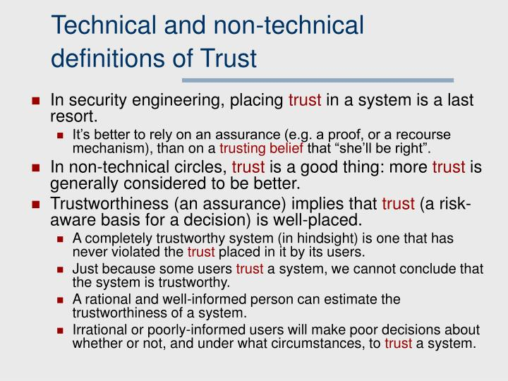 Technical and non-technical definitions of Trust