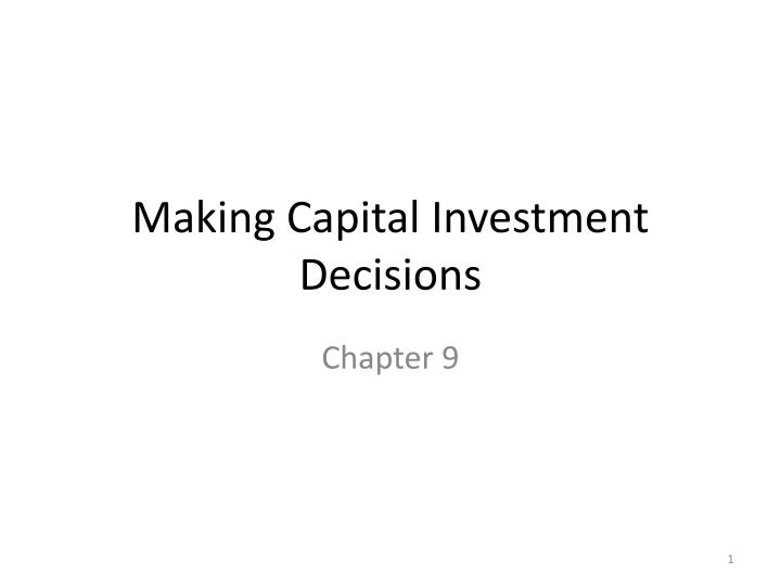 making capital investment decisions n.