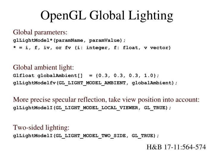 OpenGL Global Lighting