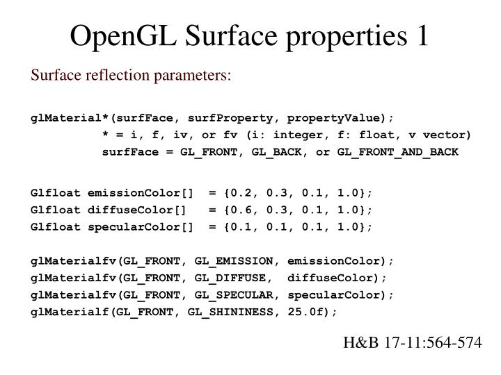 OpenGL Surface properties 1