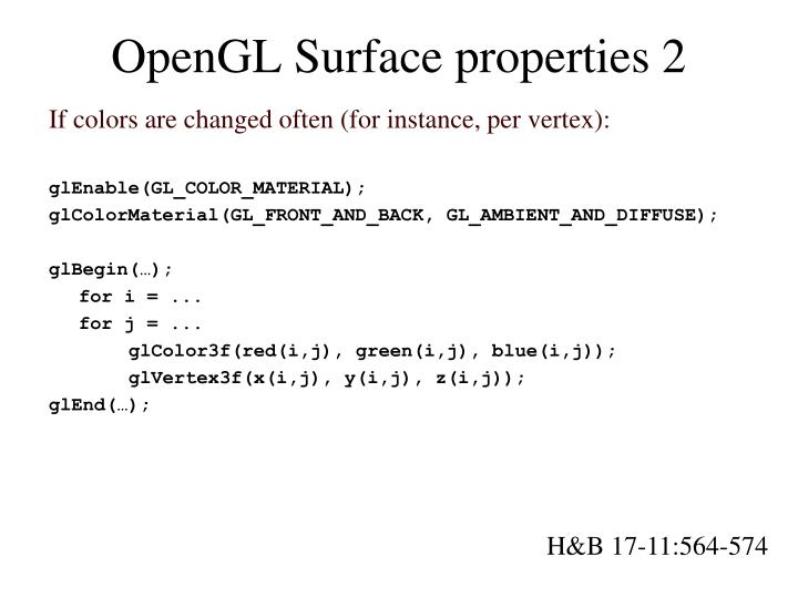 OpenGL Surface properties 2