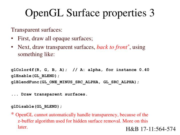 OpenGL Surface properties 3