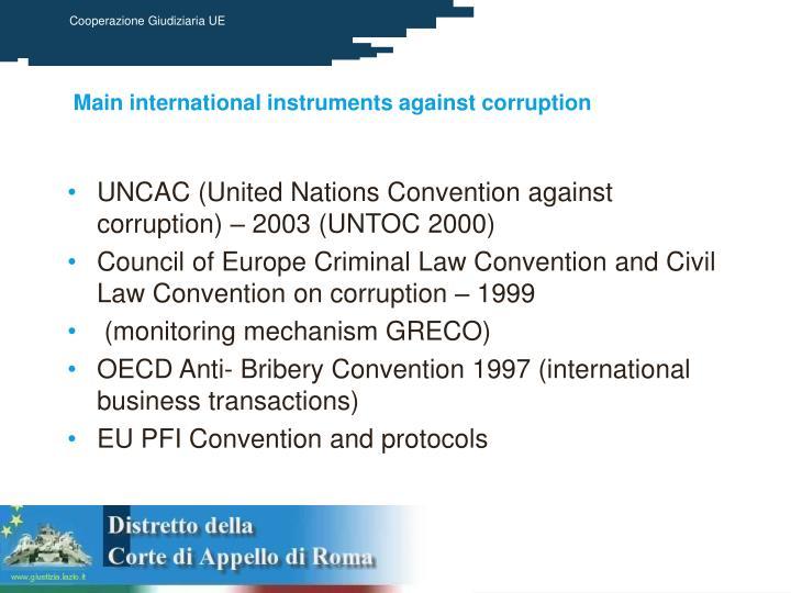 Main international instruments against corruption