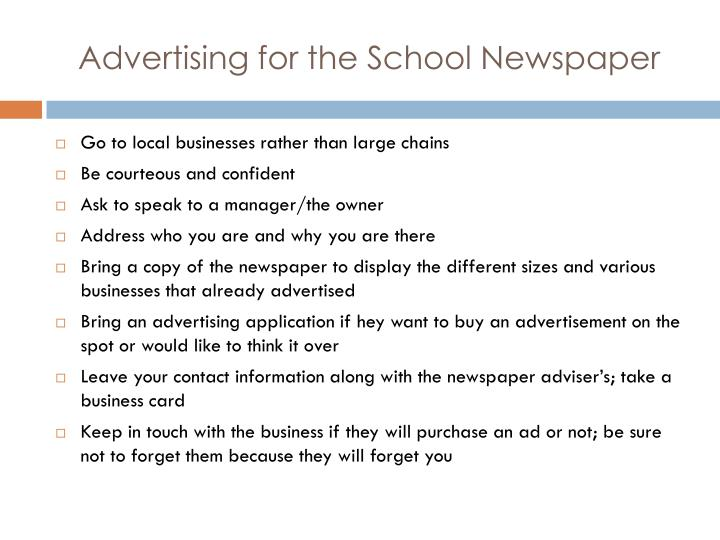 Advertising for the School Newspaper