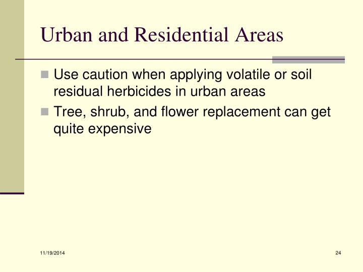 Urban and Residential Areas