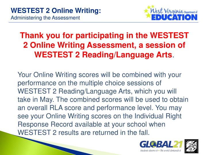 WESTEST 2 Online Writing: