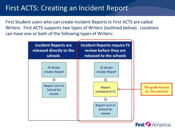 First acts creating an incident report