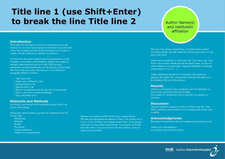 Title line 1 (use Shift+Enter)