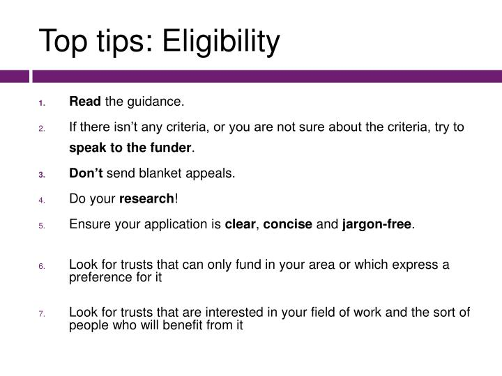 Top tips: Eligibility