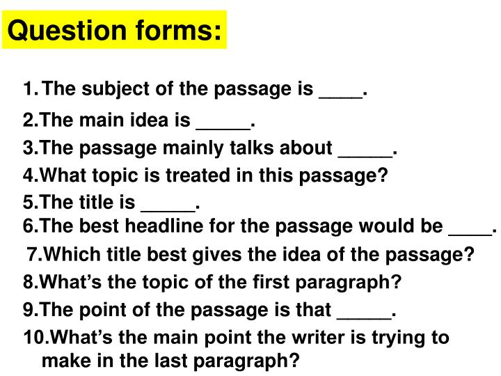 Question forms: