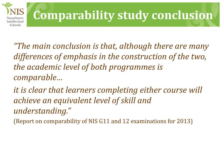Comparability study conclusion