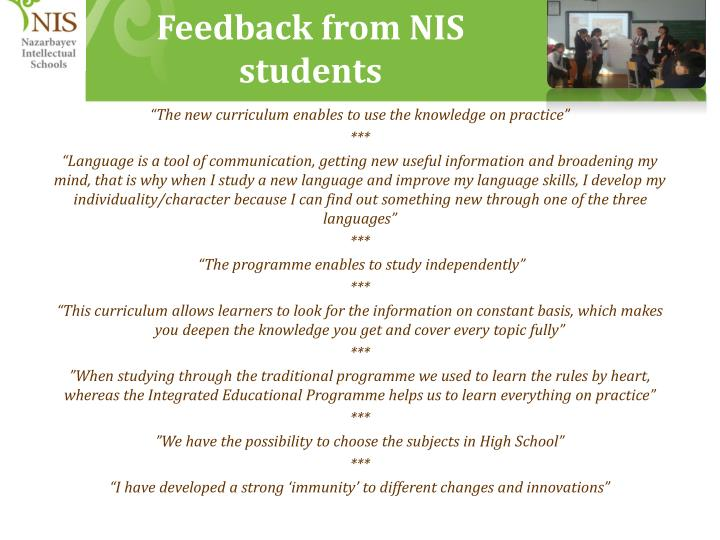 Feedback from NIS students