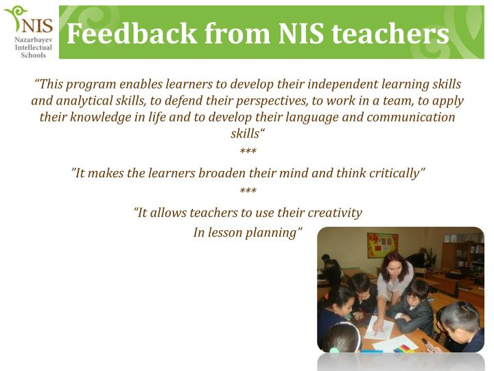 Feedback from NIS