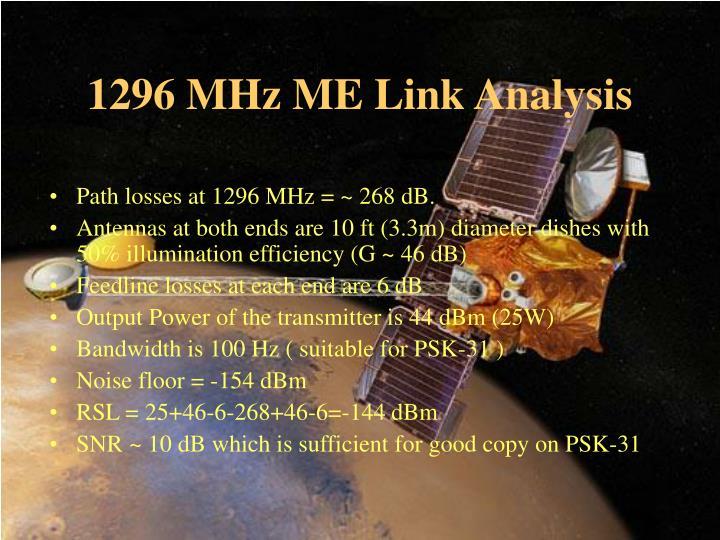 1296 MHz ME Link Analysis