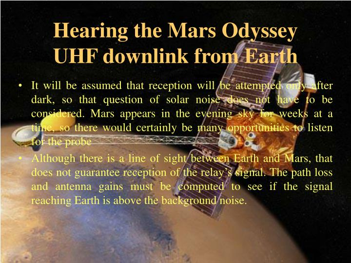 Hearing the Mars Odyssey UHF downlink from Earth