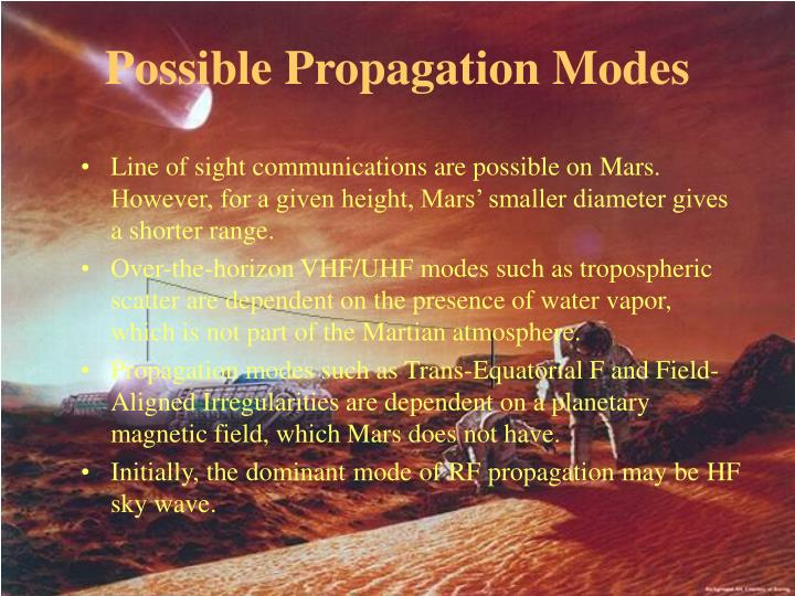 Possible Propagation Modes