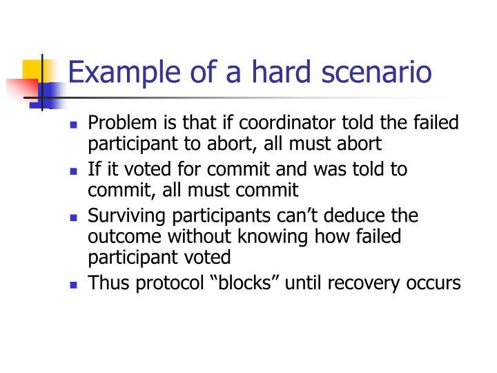 Example of a hard scenario