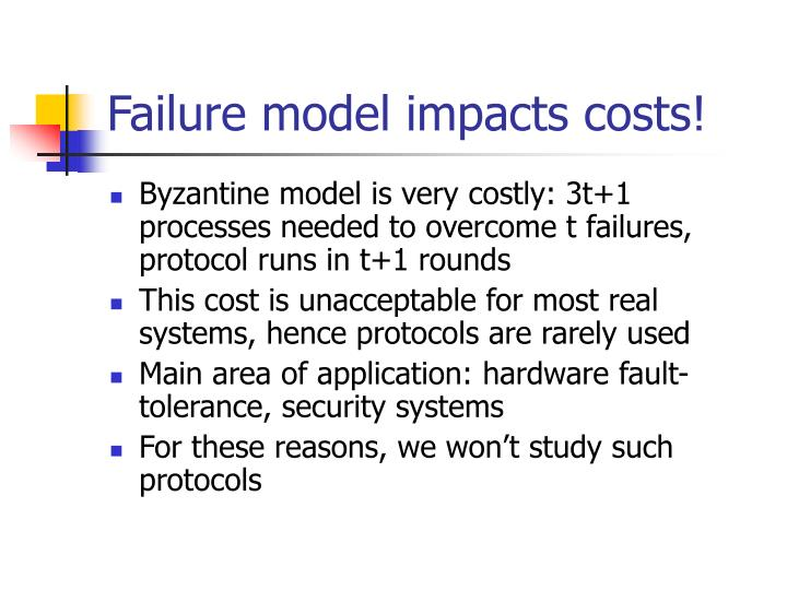 Failure model impacts costs!