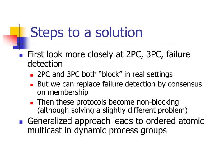 Steps to a solution
