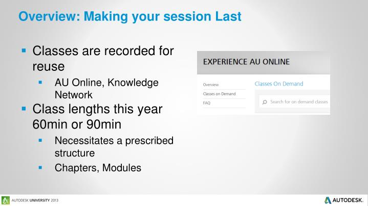 Overview: Making your session Last