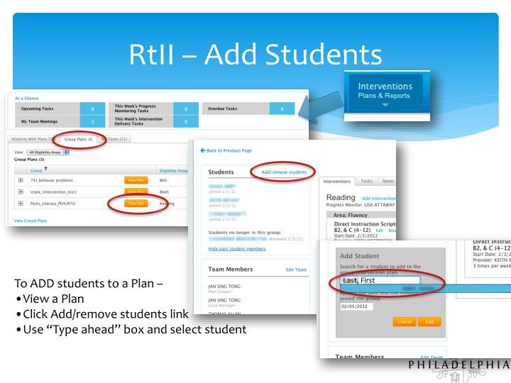 RtII – Add Students
