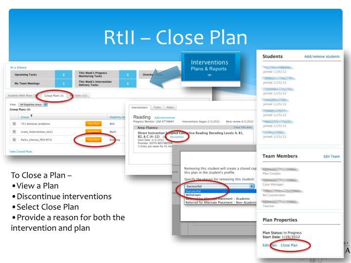 RtII – Close Plan