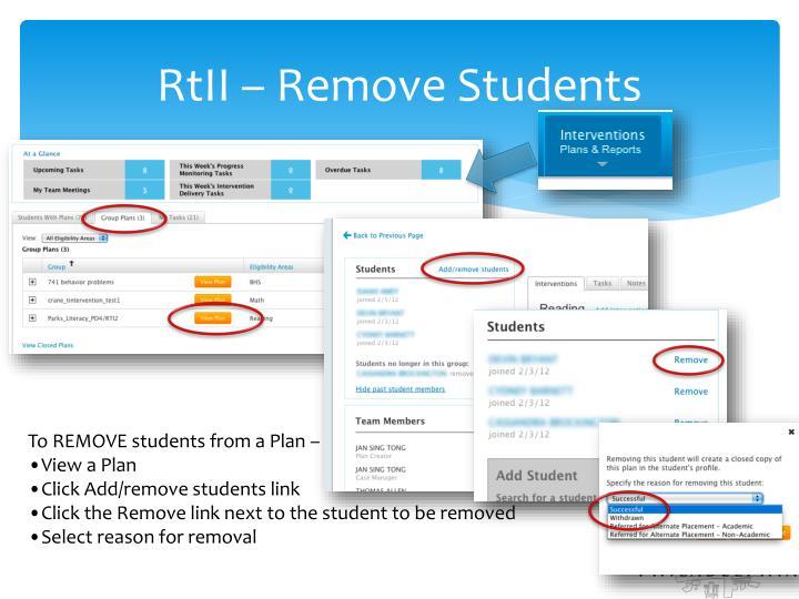 RtII – Remove Students