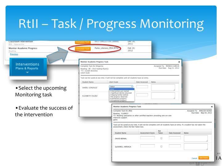 RtII – Task / Progress Monitoring