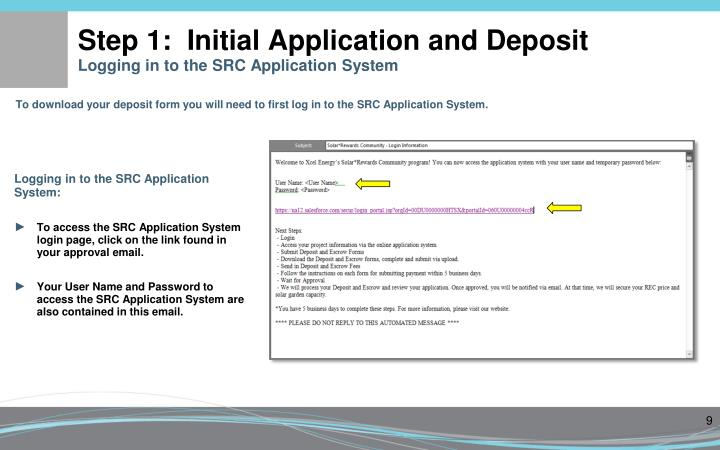 Step 1:  Initial Application and Deposit