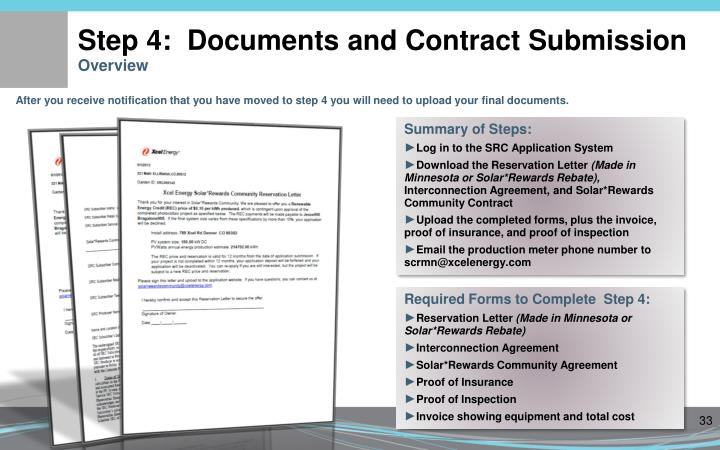 Step 4:  Documents and Contract Submission