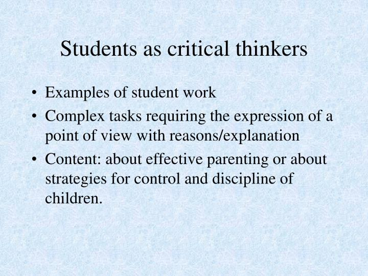 Students as critical thinkers