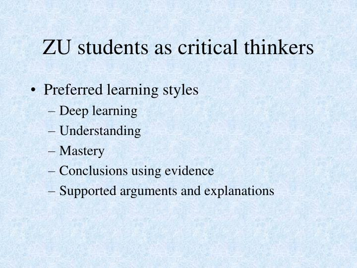 Zu students as critical thinkers1