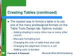 creating tables continued1