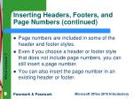 inserting headers footers and page numbers continued