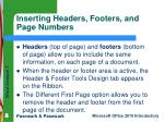 inserting headers footers and page numbers