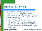 inserting page breaks