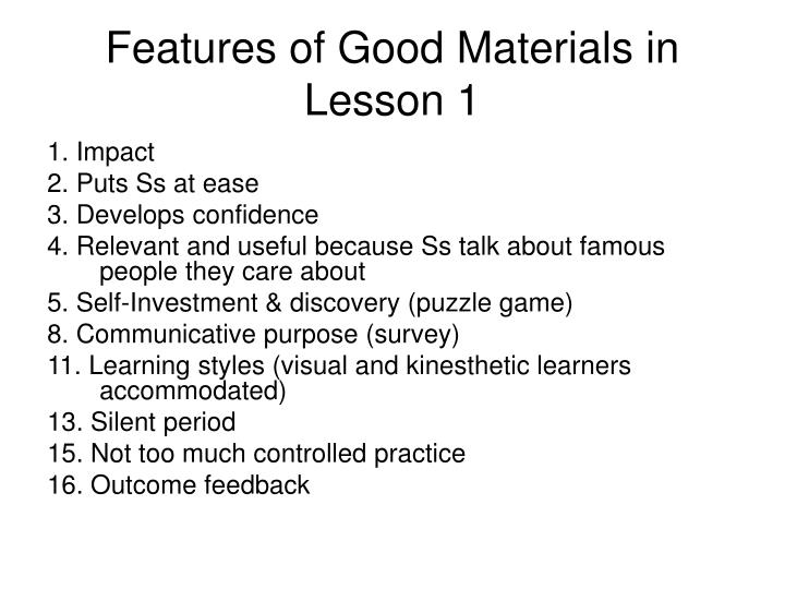 Features of Good Materials in Lesson 1