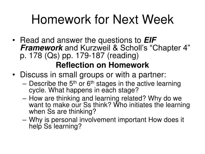Homework for next week