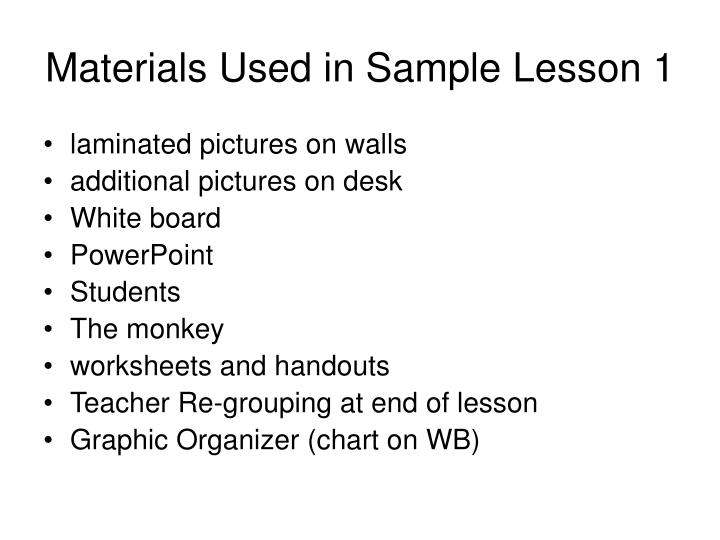 Materials Used in Sample Lesson 1