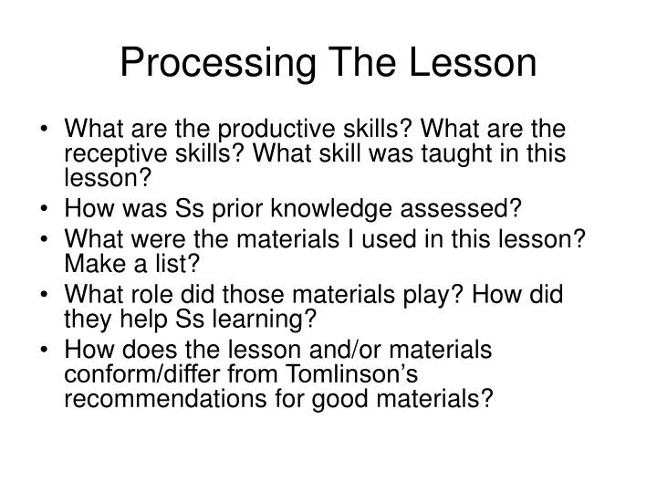 Processing The Lesson