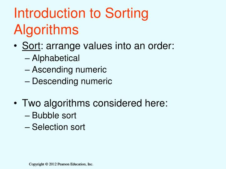 Introduction to Sorting Algorithms