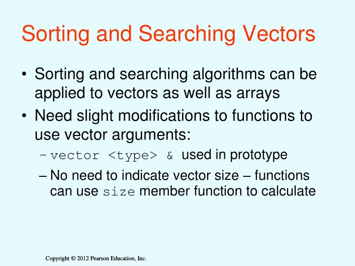 Sorting and Searching Vectors