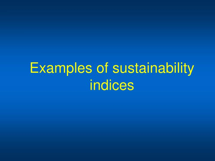 Examples of sustainability indices