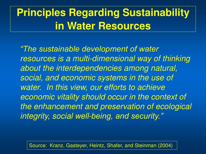 Principles Regarding Sustainability in Water Resources