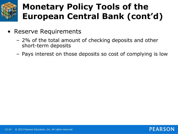 Monetary Policy Tools of the European Central Bank (cont'd)