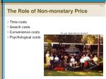 the role of non monetary price